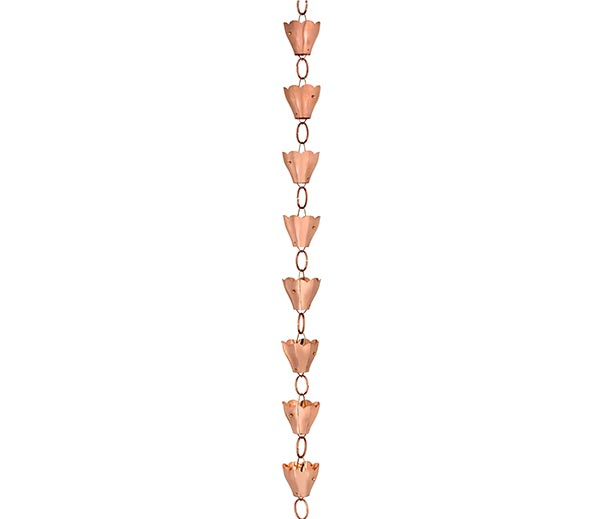 13-Cup-Tulip-Rain-Chain---Polished-Copper