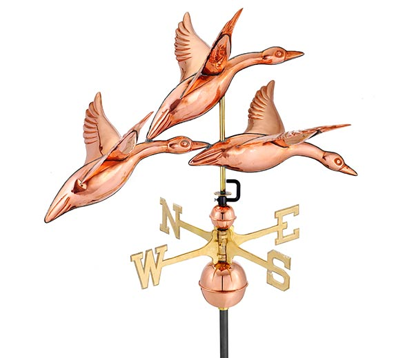 28-3-Geese-in-Flight-Weathervane-Polished-Copper