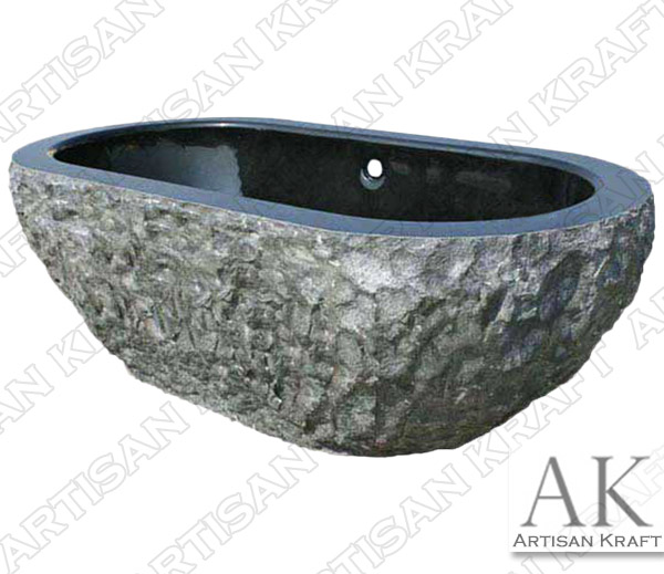 Absolute Black Double Ended Stone Oval Marble Bathtub