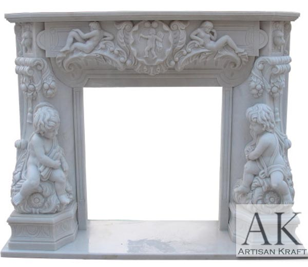 Angel Cherubim Carved Marble Mantel