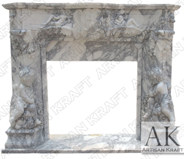 Angel Cherubim Italian Marble Fireplace Mantel