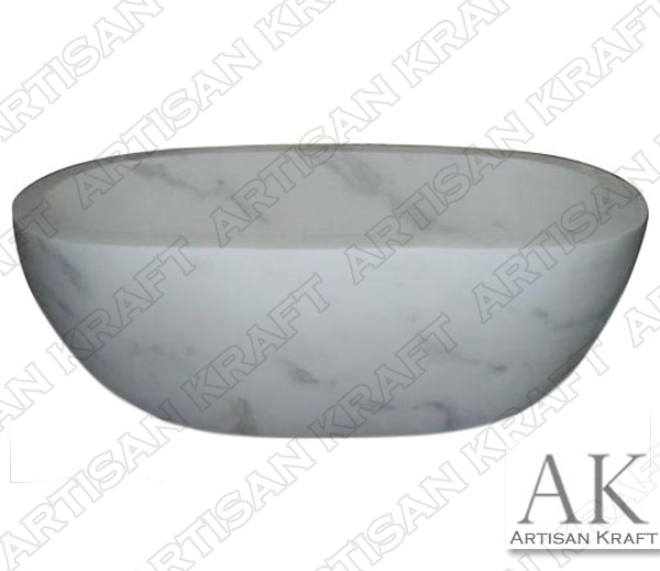 Marble White Double Ended Oval Bathtub