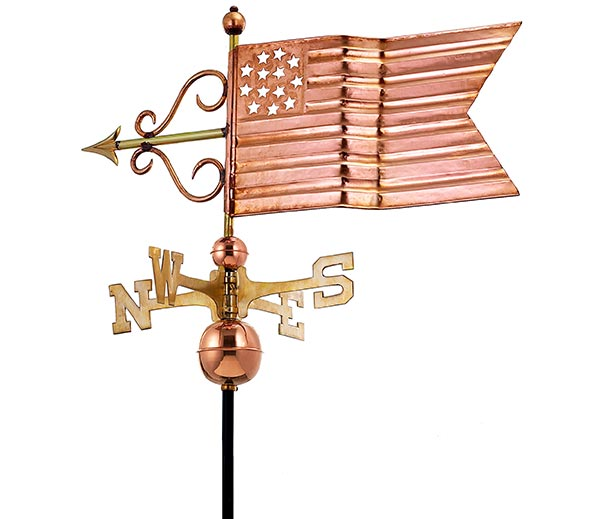 American-Flag-Weathervane-Polished-Copper