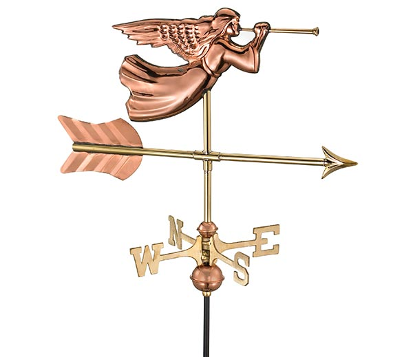 Angel-Garden-Weathervane-Polished-Copper-w-Garden-Pole