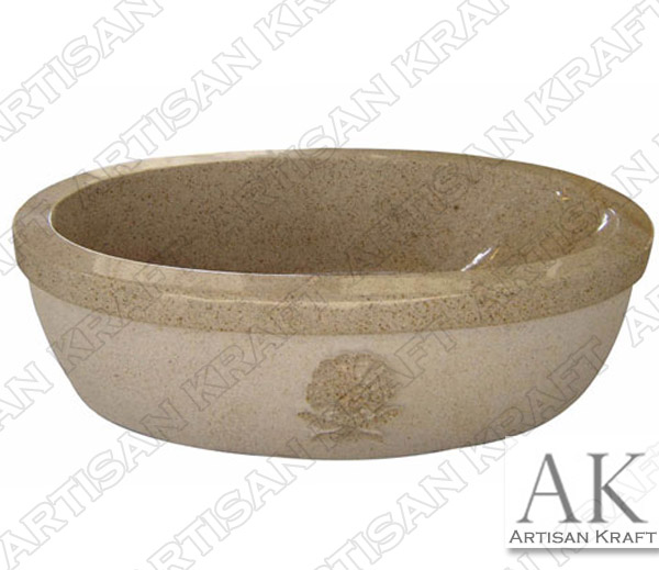 Beige Granite Double Ended Oval Bathtub