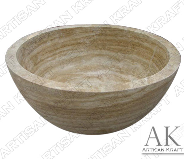 Beige Travertine Round Soaking Bathtub