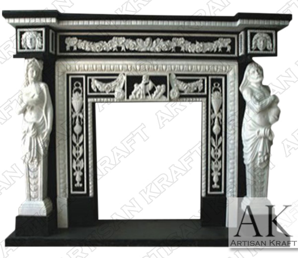 Black and White Marble Statue Fireplace Mantel