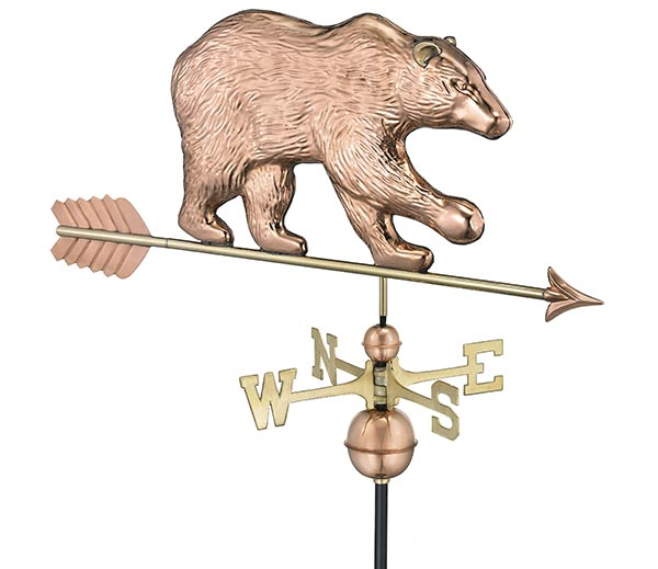 Bear-Weathervane-with-Arrow-Polished-Copper