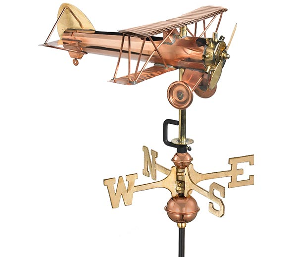 Biplane-Garden-Weathervane-Polished-Copper-w-Garden-Pole