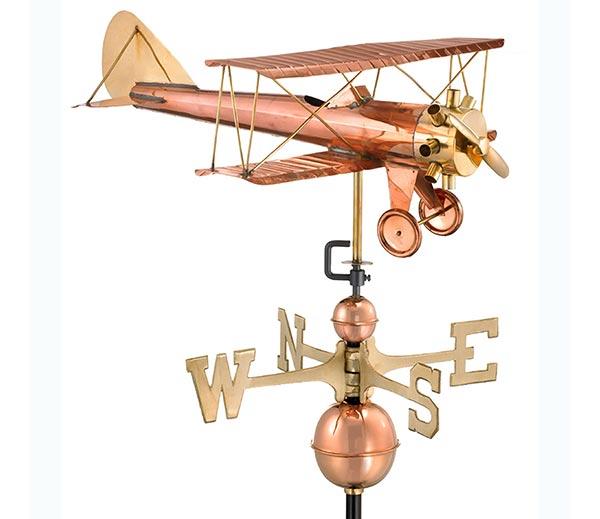Biplane-Weathervane-Polished-Copper