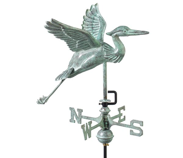 Blue-Heron-Cottage-Weathervane-Blue-Verde-Copper-w-Roof-Mount