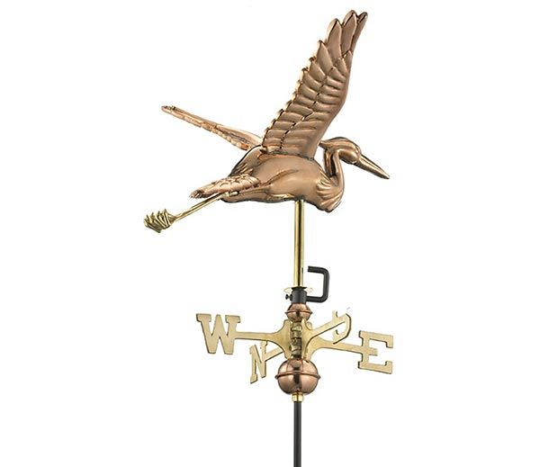 Blue-Heron-Cottage-Weathervane-Polished-Copper-w-Roof-Mount