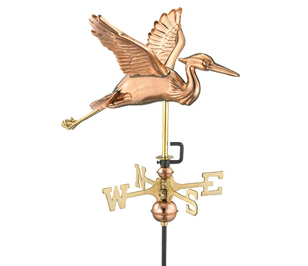 Blue-Heron-Garden-Weathervane-Polished-Copper-w-Garden-Pole