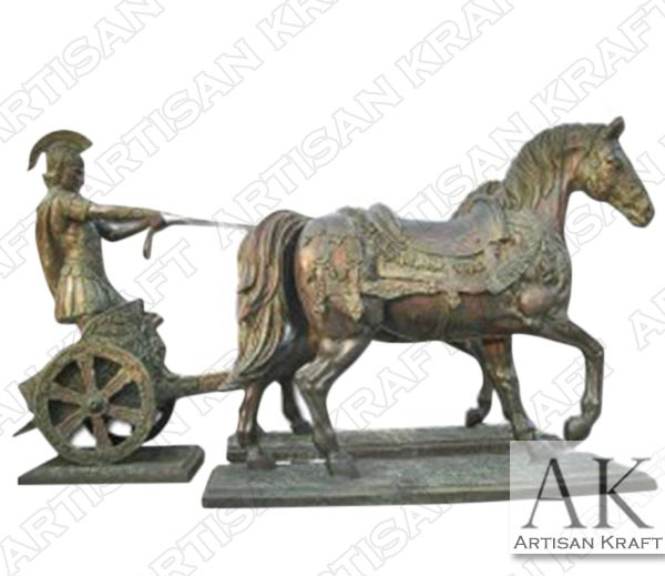 Bronze-Roman-Soldier-and-Chariot-Statue