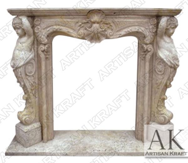 Cherubim Marble Fireplace Mantel Surround