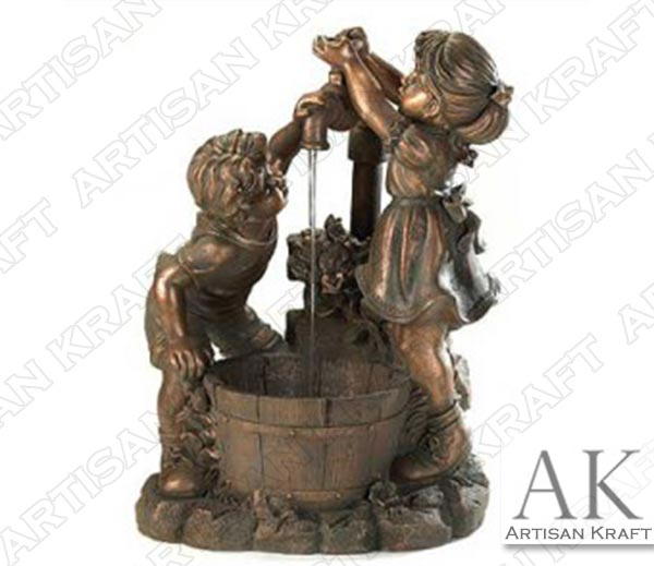 Children-Playing-at-Water-Well-Bronze-Statue