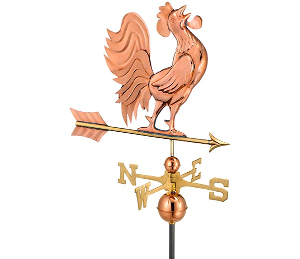 Crowing-Rooster-Weathervane-Polished-Copper