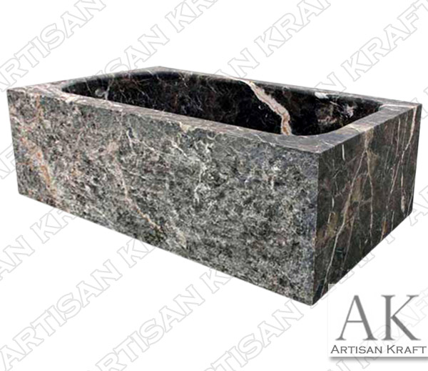 Dark Emperador Rectangular Marble Bathtub