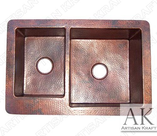 Double Bowl Undermount Hammered Copper Kitchen Sink