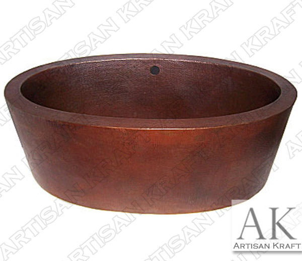Double-Wall-Oval-Hammered-Copper-Bath-Tub