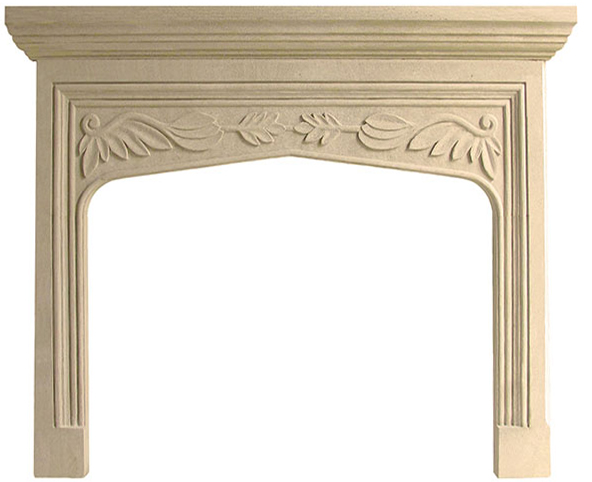 English Traditional Tudor Limestone Fireplace Mantel