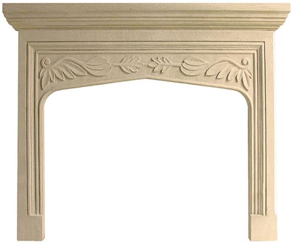 English Traditional Tudor Limestone Fireplace Mantel