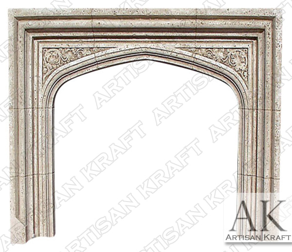 English Tudor Cast Stone Fireplace Mantel