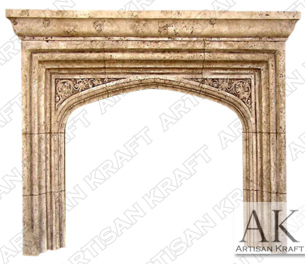English Tudor w/ Shelf Fireplace Mantel