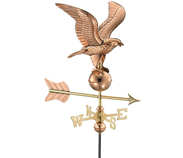 Eagle-Garden-Weathervane-Polished-Copper-w-Garden-Pole