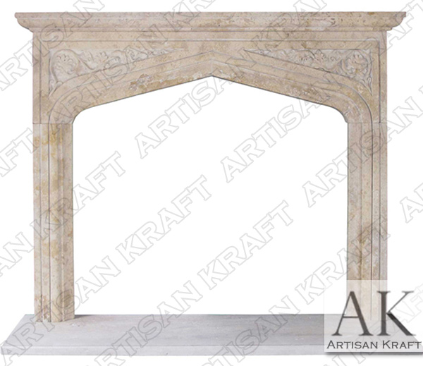 English Tudor Travertine Fireplace Mantel