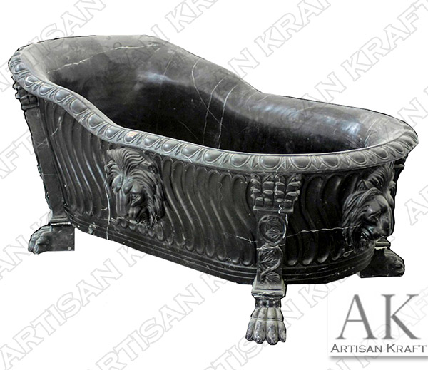 Forest Black Marble Lion Clawfoot Bathtub