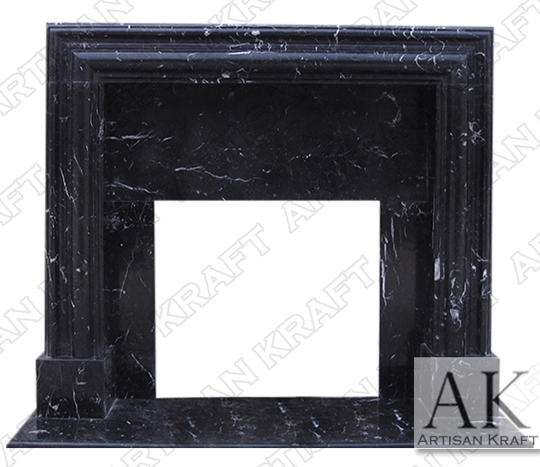 Francisco Contemporary Black Marble Fireplace Mantel