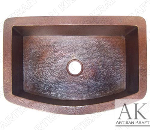 Farmhouse-Rounded-Hammered-Kitchen-Copper-Sink