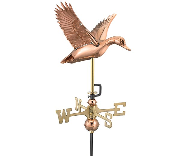 Flying Duck Garden Weathervane - Polished Copper with Garden Pole
