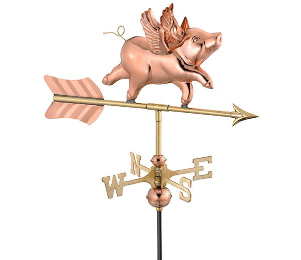 Flying-Pig-Cottage-Weathervane-Polished-Copper-w-Roof-Mount
