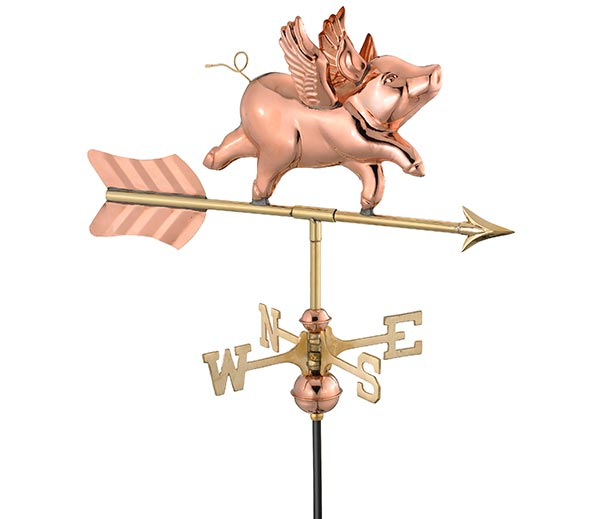 Flying-Pig-Garden-Weathervane-Polished-Copper-w-Garden-Pole