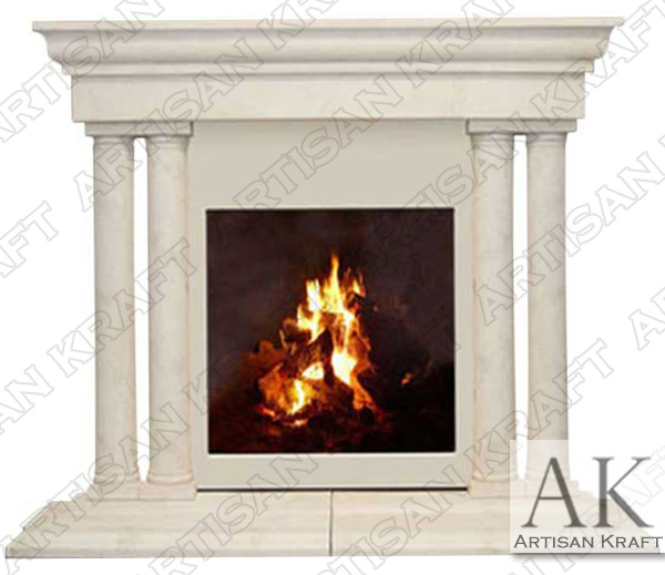 Grand Tuscan Cast Stone Column Fireplace Mantel