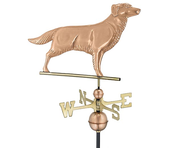 Golden-Retriever-Weathervane-Polished-Copper