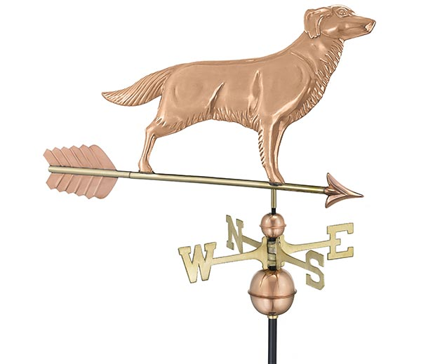 Golden-Retriever-Weathervane-with-Arrow-Polished-Copper