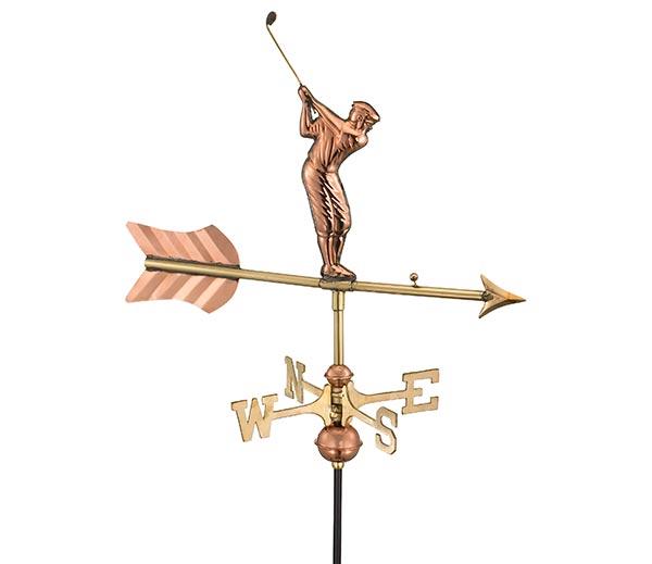 Golfer-Garden-Weathervane-Polished-Copper-w-Garden-Pole