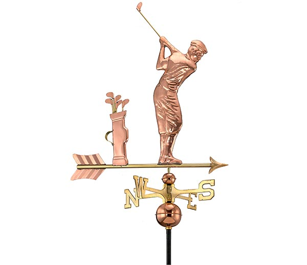 Golfer-Weathervane-Polished-Copper