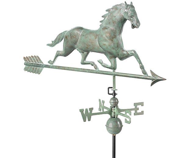 Horse-Weathervane-with-Arrow-Blue-Verde-Copper
