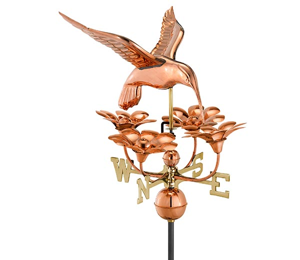 Hummingbird-with-Flowers-Weathervane-Polished-Copper