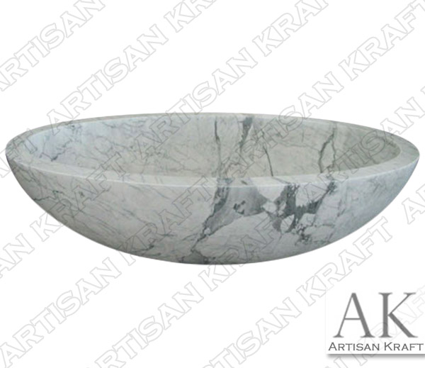 Italian Carrera Marble Double Ended Oval Bathtub