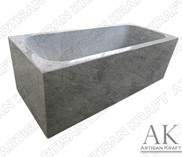 Italian Carrera Rectangular Marble Bathtub