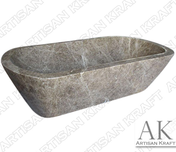 Light Emperador Double Ended Curved Bathtub