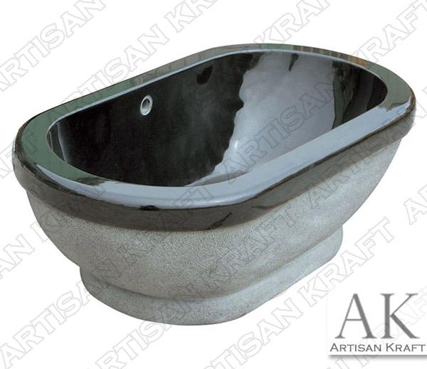 Luxury Black Marble Pedestal Oval Tub