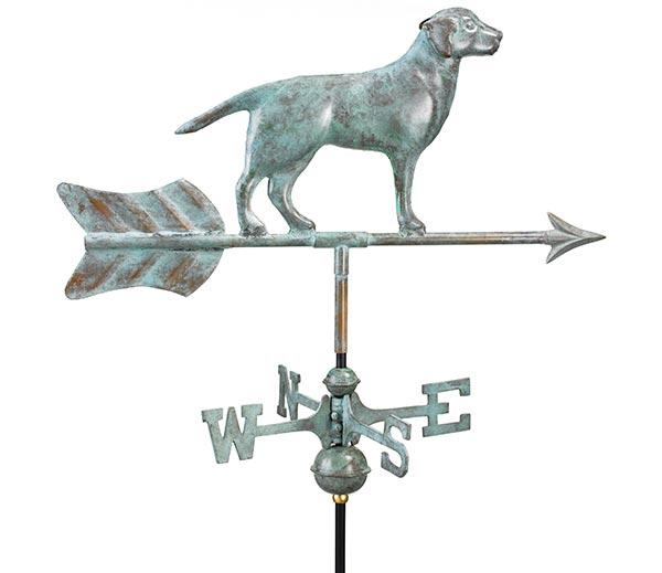 Labrador-Retriever-Garden-Weathervane-Blue-Verde-Copper-w-Garden-Pole