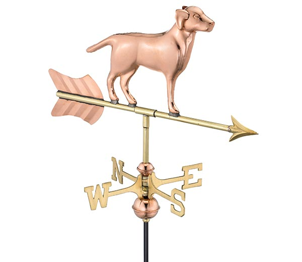 Labrador-Retriever-Garden-Weathervane-Polished-Copper-w-Garden-Pole