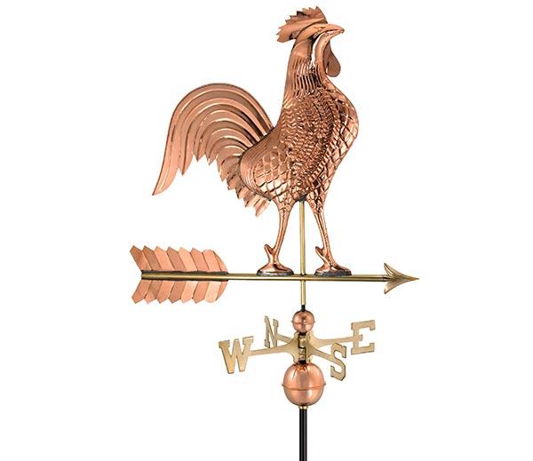 Large-Rooster-Weathervane-Polished-Copper